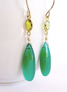 Green stone earrings gold green onyx dangle