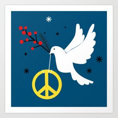 Christmas Peace Art Print by Elisandra Sevenstar - X-Small Peace Art, Together We Can, From The Ground Up, Buy Frames, Printing Process, Gallery Wall, Art Prints, Artist, Pattern