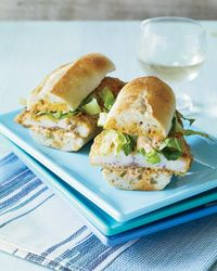 Catfish Po'Boys with Pickle Remoulade, from Food & Wine.  Maybe not with catfish but some other white fish the kids would like....