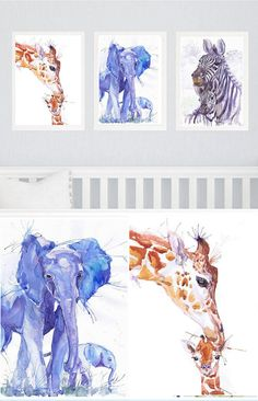 Safari Nursery Art, Set of 3 prints, Watercolor painting ,Boy Girl Nursery Decor, Set of three Prints Elephant Giraffe Zebra Jungle Animals Set of 3