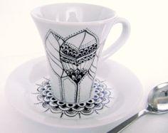 Porzellan-Becher mit Namen personalisierte von DipintoAdArte