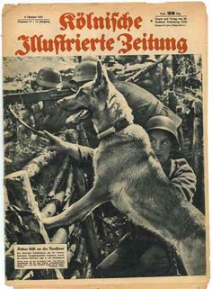 Copy of (what appears to be) the Cologne Illustrated Newspaper with a war dog and soldier on the cover