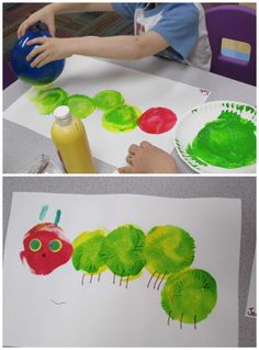 Balloon painting hungry caterpillar craft for kids! - Balloon painting hungry caterpillar craft for kids! Balloon painting hungry caterpillar craft for k - Kids Crafts, Toddler Crafts, Arts And Crafts, Easter Crafts, Green Crafts For Kids, Quick Crafts, Craft Kids, Easter Art, Book Crafts