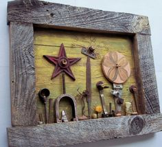 Assemblage art Wildflowers, salvaged found objects on reclaimed wood - recycled art
