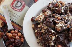 Organic Chocolate Cherry Bark made from organic hazelnuts and organic dried Rainier cherries from the Pacific Northwest.