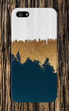 Geometric Gold Glitter x Navy Blue x White Wood Design Case for iPhone 6 6 Plus iPhone 5 5s 5c 4 4s Samsung Galaxy s5 s4 and Note 5 4