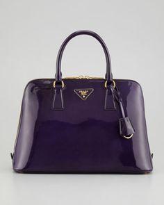 Spazzolato Promenade Lux Handbag, Dark Purple by Prada at Neiman Marcus.