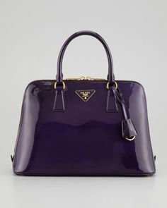 Spazzolato Promenade Lux Handbag, Dark Purple by Prada at Neiman Marcus.