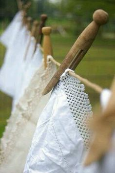 I love drying clothes on a clothes line!! They smell so fresh and clean! <3