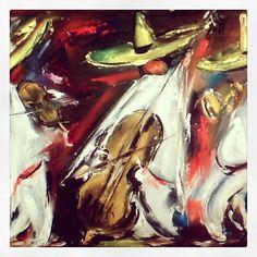 """DeGrazia's """"Tres Mariachis"""", oil on canvas."""