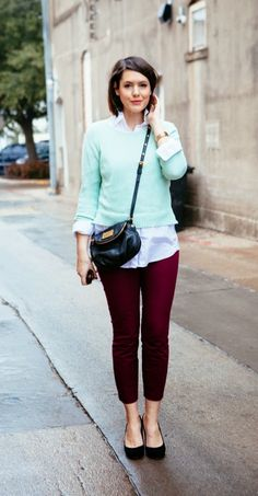 burgundy pants with light blue sweater and button down shirt
