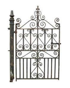 ANTIQUE WROUGHT IRON PEDESTRIAN / SIDE GATE WITH POST - UK Architectural Heritage