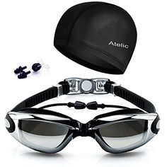 12d08b3fbf12 Swim Goggles On Amazon 2017 Atelic Best Swimming Goggles Swim Cap Set Non  Leaking Adjustable for