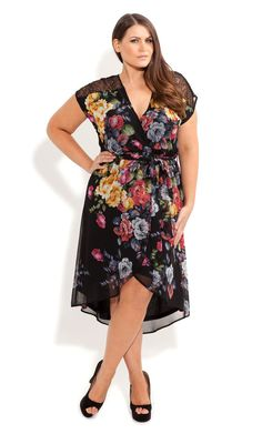 Plus Size Lace Shoulder Floral Dress - City Chic - City Chic