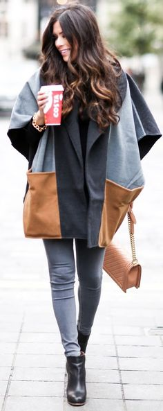 Patchwork Cape  Fall Street Style Inspo The Sweetest Thing