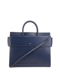 Horizon Medium Leather Satchel Bag, Navy