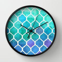 Emerald  Blue Marrakech Meander Wall Clock by Micklyn - $30.00
