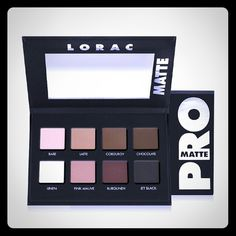 NIB Lorac Pro Matte Eyeshadow Palette Lorac Pro Matte Eyeshadow Palette  -?Palette box, never tested or sampled  -? 8?matte shades  -? Eyeshadow colors are:?Bare, Latte, Corduroy, Chocolate, Linen,?Pink Mauve, Burgundy and Jet Black  -? Eyeshadow Total Weight?= 0.144 oz.  -? Case is very slim?with magnetic closure Check out my closet for more items. NYX, Lorac, the balm, Urban decay,2facex, and more. I'm adding 30+ high end products and Victoria secrets clothes and panties today and Tom…