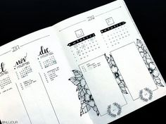 Bullet journal future log, floral drawing, minimalist headers. @nu.jour