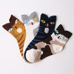 New Arrival 4 Pack of Cat Character Socks for Women and Kids Made in Kore FP | eBay