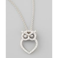 Roberto Coin 18k White Gold Diamond Owl Necklace ($1,380) ❤ liked on Polyvore featuring jewelry, necklaces, accessories, jewels, colar, white gold, owl pendant, diamond pendant necklace, owl necklace and pave diamond pendant