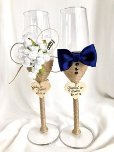 Elegant Wedding Champagne Glasses Decoration Ideas For A Perfect Rustic Wedding; Wedding Cups, Wedding Toasts, The Wedding Date, Diy Wedding, Wedding Gifts, Wedding Ceremony, Reception, Wedding Dress, Wedding Toasting Glasses