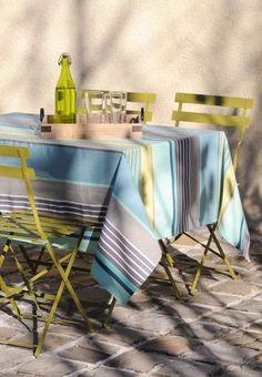 Stof - Nappe enduite à rayures CANARIAS - 100% Coton Kitchen Linens, Stripes, Chair, Furniture, Home Decor, Green Kitchen, Oilcloth, Linens, Tablecloths