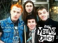 The Young Ones Cult favorite British TV show about 4 very different flat mates. It was played on MTV, as I recall, and then the early days of Comedy Central. British Sitcoms, British Comedy, English Comedy, Neil Young, Humor Ingles, The Comedian, Rik Mayall, We Will Rock You, Old Tv Shows