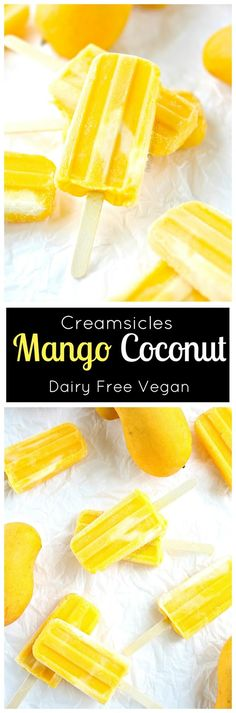 Mango Popsicle Creamsicle with Coconut (dairy free Vegan) Refreshing mango and cream make these easy 2 ingredient popsicles. Mango Popsicle Creamsicle with Coconut (dairy free Vegan) Refreshing mango and cream make these easy 2 ingredient popsicles. Vegan Treats, Healthy Treats, Vegan Desserts, Dessert Recipes, Homemade Popsicles, Homemade Ice, Mango Popsicles, Frozen Desserts, Frozen Treats