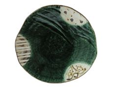 Abstract Sunlit Forest Oribe Ware Collection Japanese Oribe Plate