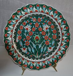 Traditional Ottoman iznik Motif Ceramic Plate Made by by copperali