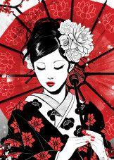 Favorite Displates poster prints by OlleGo KataVVa Japanese Art Modern, Japanese Artwork, Japanese Tattoo Art, Japanese Poster, Japanese Art Prints, Geisha Japan, Japanese Geisha, Kyoto Japan, Okinawa Japan