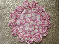 White Daisies on Pink Doily by SursyShop on Etsy, $8.00