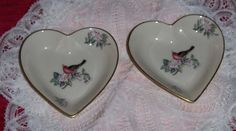 Vtg Lenox Serenade Heart Shaped Dishes 2 Flowers With Ruby Red Bird Plates USA #Lenox