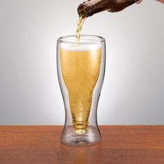 Double Wall Beer Glass - Unique Design - Perfect for Fathers Days Beer or Soda #Unbranded
