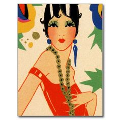 Get your hands on a customizable Flapper Deco Art Postcards postcard from Zazzle. Find a large selection of sizes and shapes for your postcard needs! Art Deco Illustration, Face Illustration, Art Vintage, Retro Art, Vintage Images, Postcard Art, 1920s Art, Flappers, Lany