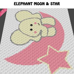 Baby Graphgan Pattern - Corner to Corner - C2C Crochet - Cute Baby Elephant on the Moon and Star Blanket Afghan Crochet Graph Pattern Chart by Acrylic Stew, $3.99 USD