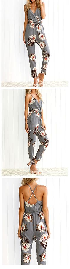 Don't know what to wear this summer?? Jumpsuit/ romper is the answer. Casual chic V neck strap back cotton grey jumpsuit with adorable floral print. Like it? Grab at $9.79, Just click on  the picture to see the details.