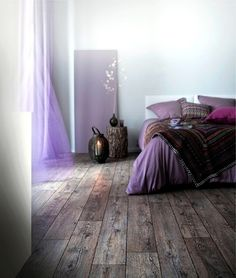 purple bedroom and I LOVE the floor too