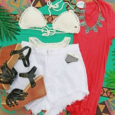 Counting down till vacay Bathing Suit Top ($59.95 in store #4thandocean) Bathing Suit Bottom ($54.95 in store #4thandocean) High Waisted White Shorts ($29.99 #sophieandtrey) Long Basic tee ($16.99 #4thandocean) Studded Strap Wedges ($29.99 #statements) Aztec Aqua Necklace ($16.99 #statements) Shop now at sophieandtrey.com w/ #freeshipping!