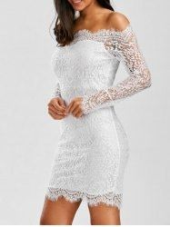 Scalloped Off Shoulder Eyelash Lace Bodycon Dress - WHITE