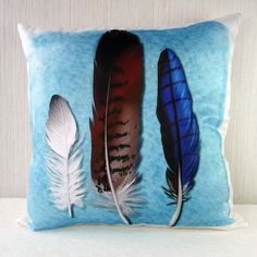 Pillow case Feathers in 16x16 inch 40x40cm for throw pillow or accent pillow, cushion cover. 40,00, via Etsy.