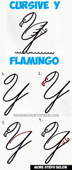 How to Draw a Cartoon Flamingo from Cursive Letter Y Shapes Easy Tutorial for Kids