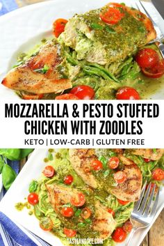 Mozzarella and Pesto Stuffed Chicken with Zoodles - with smoky homemade pesto, boneless skinless chicken breasts, and zucchini noodles. Healthy Chicken Recipes, Keto Recipes, Cooking Recipes, Free Recipes, Clean Eating Snacks, Healthy Eating, Homemade Pesto, Mediterranean Diet Recipes, Pesto Chicken