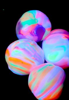 Homemade Glowing Bouncy Balls. The dogs would probably hate me even more than they usually do when the blacklight is on...