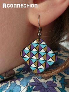 Love these geometric shrink plastic earrings! Plastic Earrings, Diy Earrings, Earrings Handmade, Handmade Jewelry, Plastic Fou, Shrink Plastic, Plastic Bottle, Shrink Paper, Diy Jewelry