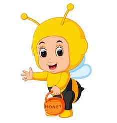 Cute boy cartoon wearing bee costume vector image on VectorStock
