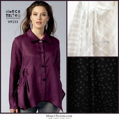 I see this shirt as part shirt/part light jacket. I would wear a sheer fabric over a sleeveless solid color tunic in these fabrics; a white/ivory and black. Perfect for our Frost Plaid Silk/Cotton Woven http://www.marcytilton.com/item.php?pid=22362&cid=903 and Black Tiny Bubbles Woven http://www.marcytilton.com/item.php?pid=18111&cid=906 Vogue 9153 - http://voguepatterns.mccall.com/v9153-products-50712.php?page_id=5945.