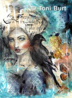 """the sacred law"" mixed media artwork by Toni Burt - features a girl with her spirit animal the crow (or raven). Vintage flowers, butterflies and sheet music with acrylic paint and Sennelier oil sticks."
