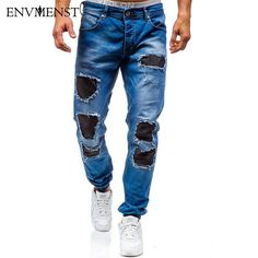 Envmenst Men's Slim Fit Ankle Length Holed Patchwork Designer Jeans